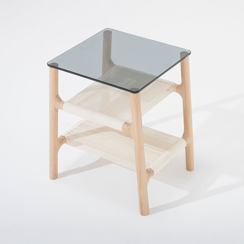 Gazzda_Fawn_Sidetable_by_Salih_Teskeredzic_Gazzda_-_1015_White_Solid_Oak_Oiled_with_Grey_Tempered_Glass_02 Olson and Baker - Designer & Contemporary Sofas, Furniture - Olson and Baker showcases original designs from authentic, designer brands. Buy contemporary furniture, lighting, storage, sofas & chairs at Olson + Baker.