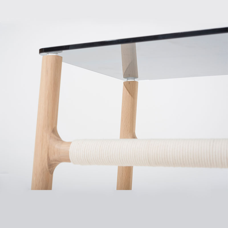 Gazzda_Fawn_Sidetable_by_Salih_Teskeredzic_Gazzda_-_1015_White_Solid_Oak_Oiled_with_Grey_Tempered_Glass_03 Olson and Baker - Designer & Contemporary Sofas, Furniture - Olson and Baker showcases original designs from authentic, designer brands. Buy contemporary furniture, lighting, storage, sofas & chairs at Olson + Baker.