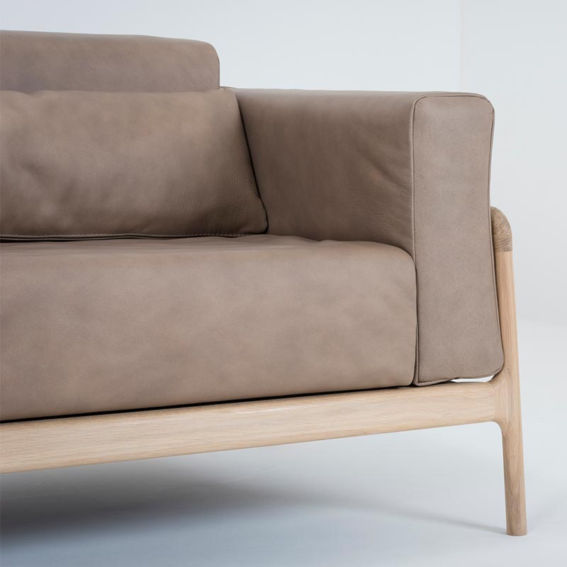 Gazzda_Fawn_Sofa_Three_Seater_by_Salih_Teskeredzic_Gazzda_-_1015_White_Solid_Oak_Oiled_with_1436_Stone_Dakar_Leather_Upholstery_02 Olson and Baker - Designer & Contemporary Sofas, Furniture - Olson and Baker showcases original designs from authentic, designer brands. Buy contemporary furniture, lighting, storage, sofas & chairs at Olson + Baker.
