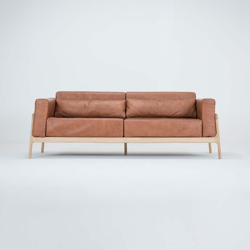 Gazzda_Fawn_Sofa_Three_Seater_by_Salih_Teskeredzic_Gazzda_-_1015_White_Solid_Oak_Oiled_with_2732_Whiskey_Dakar_Leather_Upholstery_02 Olson and Baker - Designer & Contemporary Sofas, Furniture - Olson and Baker showcases original designs from authentic, designer brands. Buy contemporary furniture, lighting, storage, sofas & chairs at Olson + Baker.