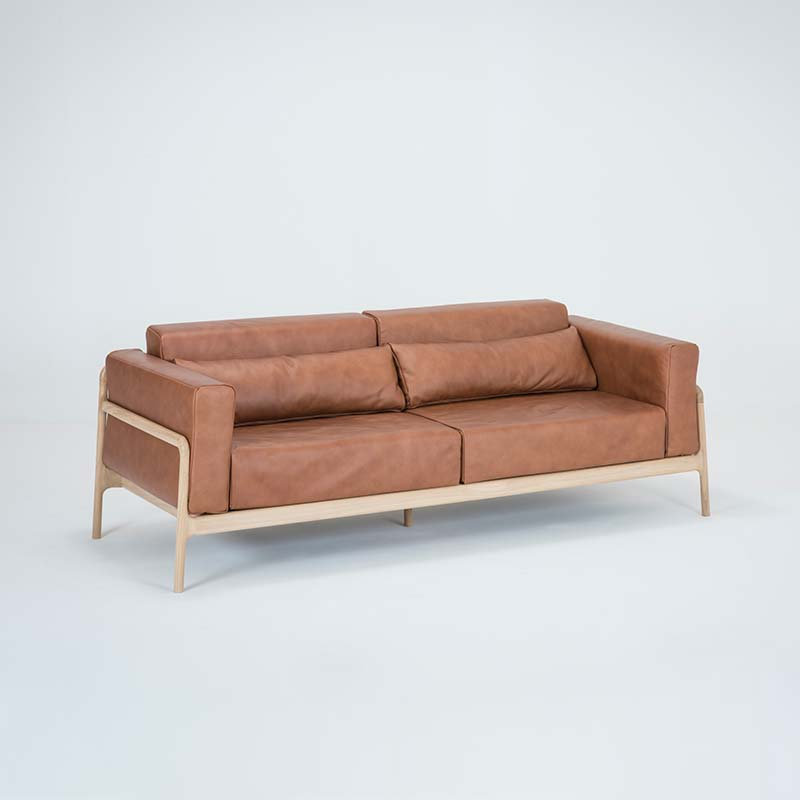 Gazzda_Fawn_Sofa_Three_Seater_by_Salih_Teskeredzic_Gazzda_-_1015_White_Solid_Oak_Oiled_with_2732_Whiskey_Dakar_Leather_Upholstery_03 Olson and Baker - Designer & Contemporary Sofas, Furniture - Olson and Baker showcases original designs from authentic, designer brands. Buy contemporary furniture, lighting, storage, sofas & chairs at Olson + Baker.