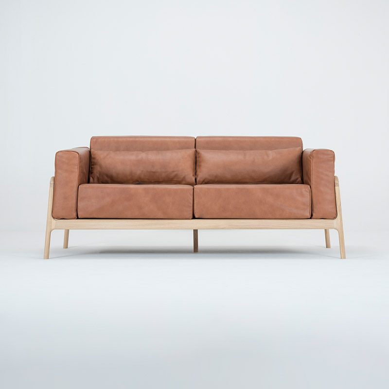 Gazzda_Fawn_Sofa_Two_Seater_by_Salih_Teskeredzic_Gazzda_-_1015_White_Solid_Oak_Oiled_with_2732_Whiskey_Dakar_Leather_Upholstery_02 Olson and Baker - Designer & Contemporary Sofas, Furniture - Olson and Baker showcases original designs from authentic, designer brands. Buy contemporary furniture, lighting, storage, sofas & chairs at Olson + Baker.