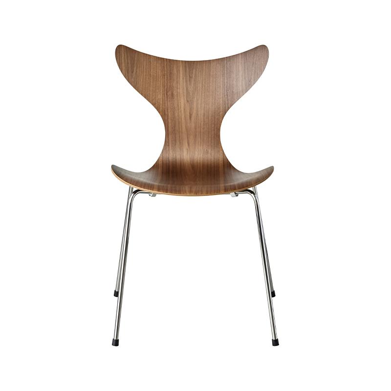 Fritz Hansen Lily Chair in Walnut Veneer by Arne Jacobsen Olson and Baker - Designer & Contemporary Sofas, Furniture - Olson and Baker showcases original designs from authentic, designer brands. Buy contemporary furniture, lighting, storage, sofas & chairs at Olson + Baker.