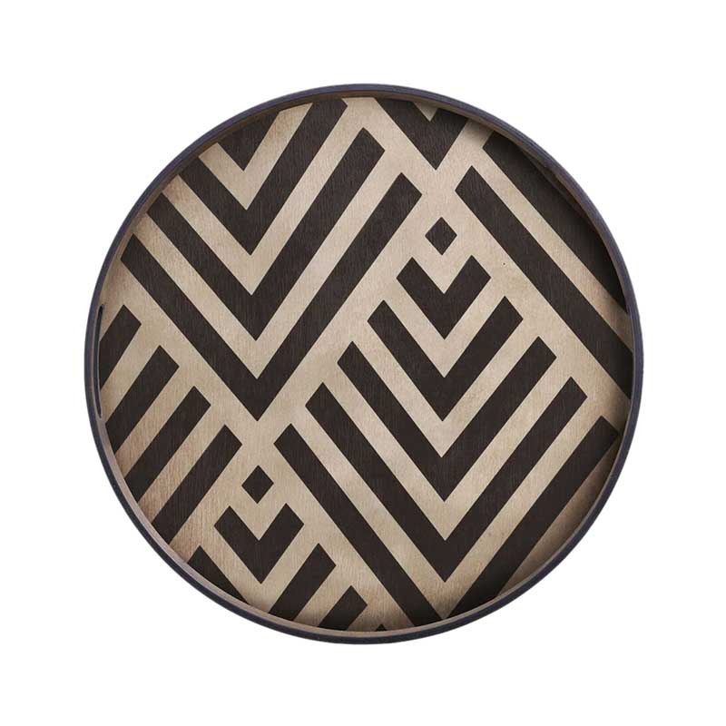 Ethnicraft Graphite Chevron Round Wooden Tray by Dawn Sweitzer Olson and Baker - Designer & Contemporary Sofas, Furniture - Olson and Baker showcases original designs from authentic, designer brands. Buy contemporary furniture, lighting, storage, sofas & chairs at Olson + Baker.