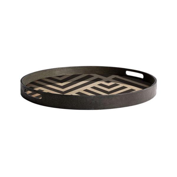 Graphite Chevron Round Wooden Tray