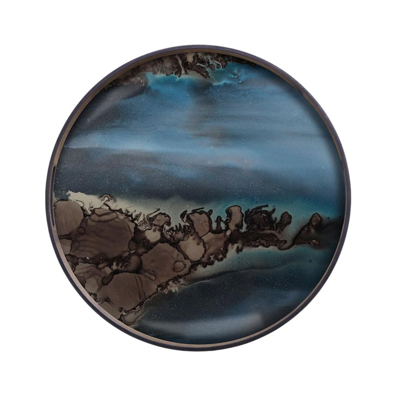 Ethnicraft Slate Organic Round Glass Tray by Dawn Sweitzer Olson and Baker - Designer & Contemporary Sofas, Furniture - Olson and Baker showcases original designs from authentic, designer brands. Buy contemporary furniture, lighting, storage, sofas & chairs at Olson + Baker.