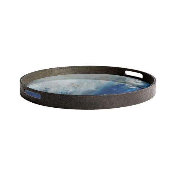 Blue Mist Organic Round Glass Tray