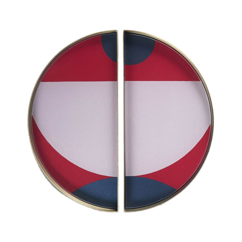Ethnicraft Blush Curve Round Glass Valet Tray - Set of Two by Dawn Sweitzer Olson and Baker - Designer & Contemporary Sofas, Furniture - Olson and Baker showcases original designs from authentic, designer brands. Buy contemporary furniture, lighting, storage, sofas & chairs at Olson + Baker.