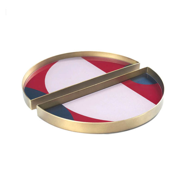 Blush Curve Round Glass Valet Tray - Set of Two