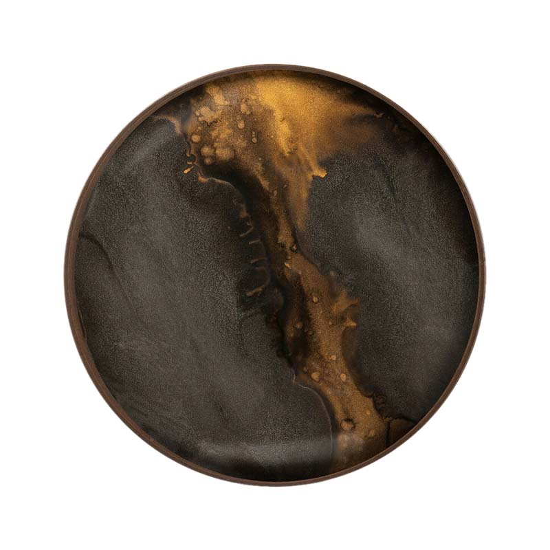 Ethnicraft Bronze Organic Round Glass Valet Tray by Dawn Sweitzer Olson and Baker - Designer & Contemporary Sofas, Furniture - Olson and Baker showcases original designs from authentic, designer brands. Buy contemporary furniture, lighting, storage, sofas & chairs at Olson + Baker.