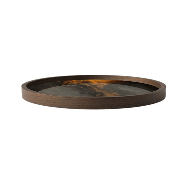 Bronze Organic Round Glass Valet Tray