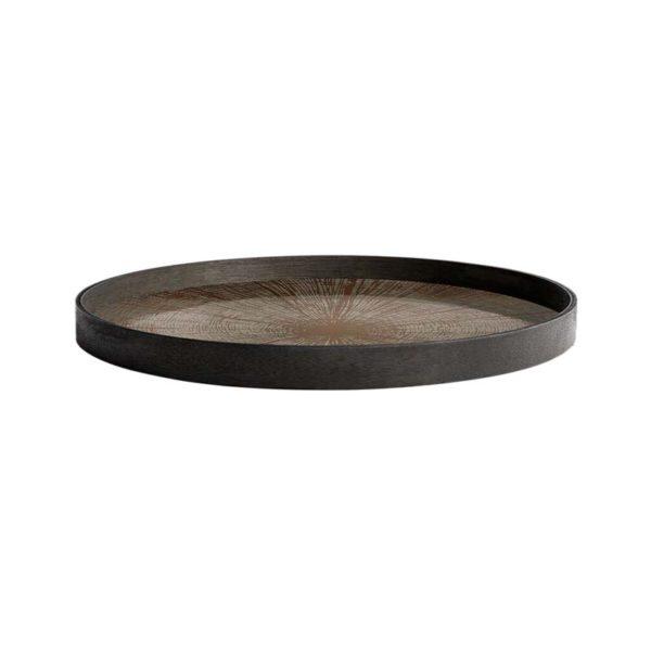 Bronze Slice Round Mirror Tray
