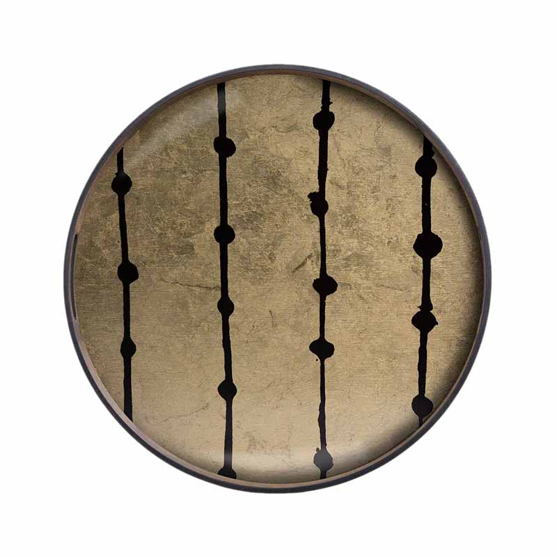 Ethnicraft Brown Dots Round Glass Tray by Dawn Sweitzer Olson and Baker - Designer & Contemporary Sofas, Furniture - Olson and Baker showcases original designs from authentic, designer brands. Buy contemporary furniture, lighting, storage, sofas & chairs at Olson + Baker.