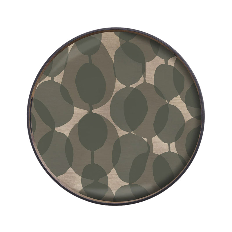 Ethnicraft Connected Dots Round Glass Tray by Dawn Sweitzer Olson and Baker - Designer & Contemporary Sofas, Furniture - Olson and Baker showcases original designs from authentic, designer brands. Buy contemporary furniture, lighting, storage, sofas & chairs at Olson + Baker.