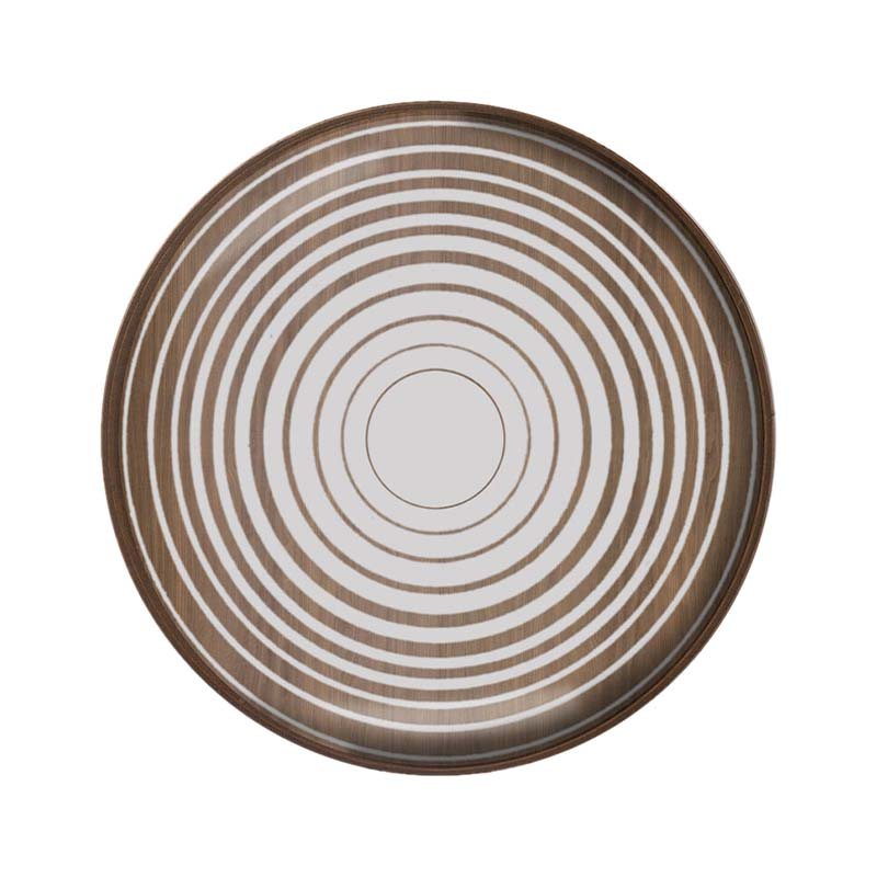 Ethnicraft Cream Circles Round Glass Valet Tray by Dawn Sweitzer Olson and Baker - Designer & Contemporary Sofas, Furniture - Olson and Baker showcases original designs from authentic, designer brands. Buy contemporary furniture, lighting, storage, sofas & chairs at Olson + Baker.