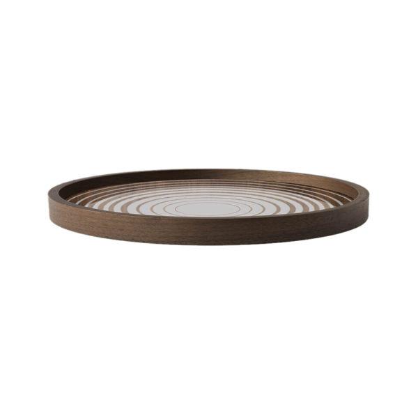 Cream Circles Round Glass Valet Tray