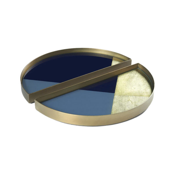 Geometric Round Glass Valet Tray - Set of Two