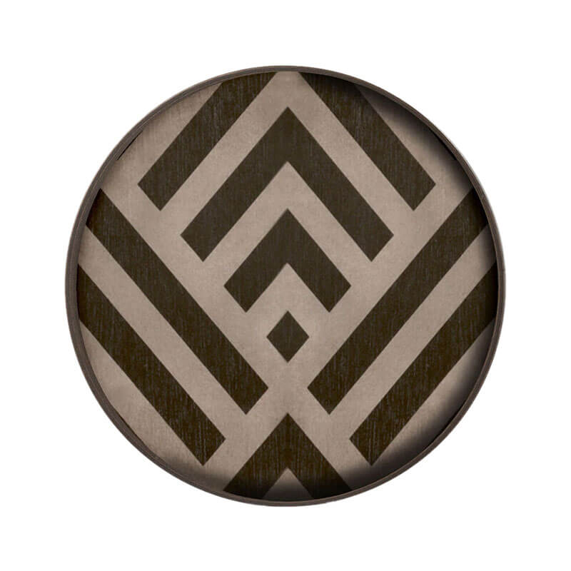 Ethnicraft Graphite Chevron Round Wooden Valet Tray by Dawn Sweitzer Olson and Baker - Designer & Contemporary Sofas, Furniture - Olson and Baker showcases original designs from authentic, designer brands. Buy contemporary furniture, lighting, storage, sofas & chairs at Olson + Baker.