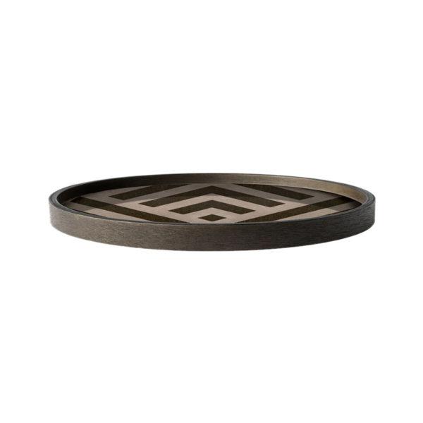 Graphite Chevron Round Wooden Valet Tray