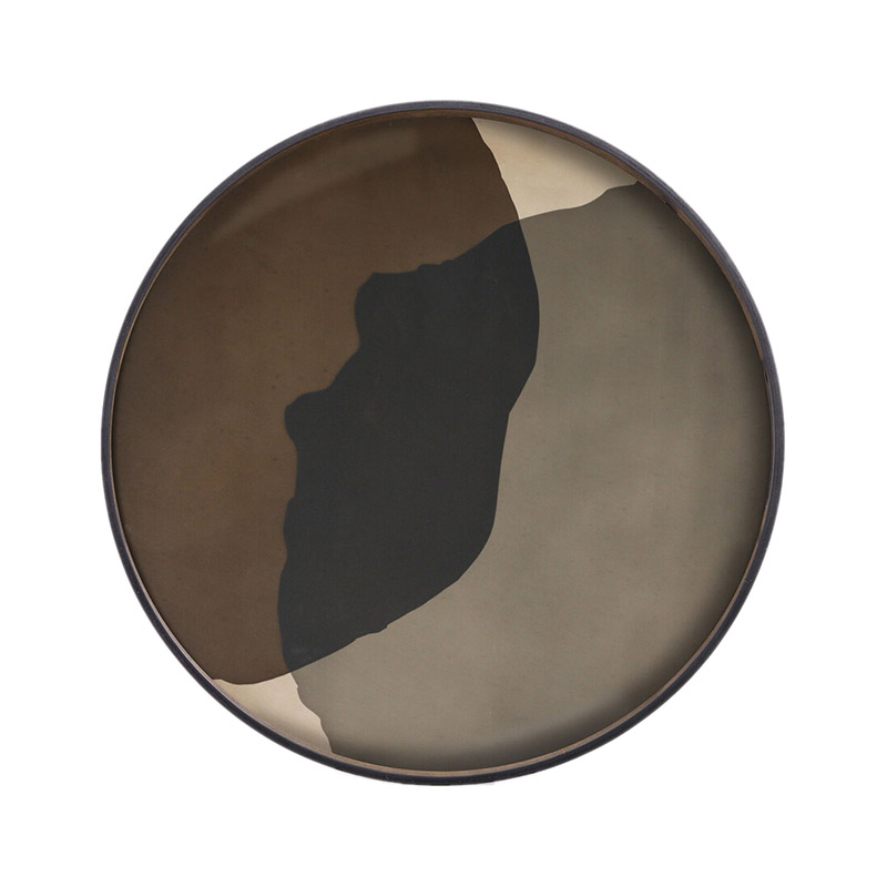 Ethnicraft Graphite Combined Dots Round Glass Tray by Dawn Sweitzer Olson and Baker - Designer & Contemporary Sofas, Furniture - Olson and Baker showcases original designs from authentic, designer brands. Buy contemporary furniture, lighting, storage, sofas & chairs at Olson + Baker.