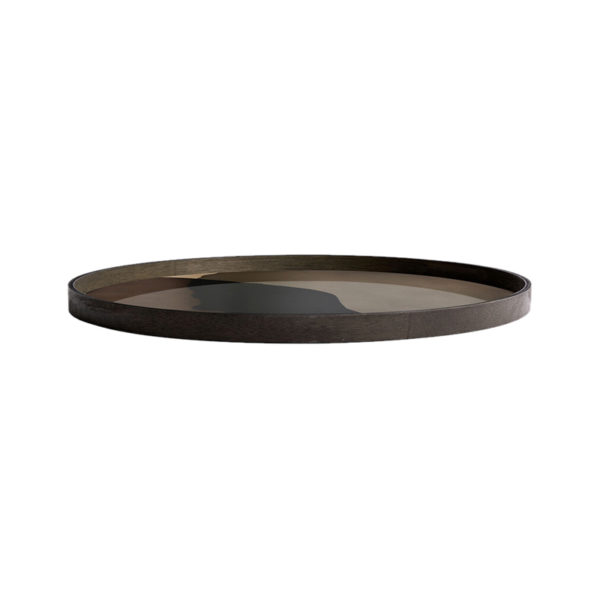 Graphite Combined Dots Round Glass Tray