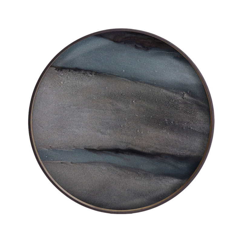 Ethnicraft Graphite Organic Round Glass Tray by Dawn Sweitzer Olson and Baker - Designer & Contemporary Sofas, Furniture - Olson and Baker showcases original designs from authentic, designer brands. Buy contemporary furniture, lighting, storage, sofas & chairs at Olson + Baker.