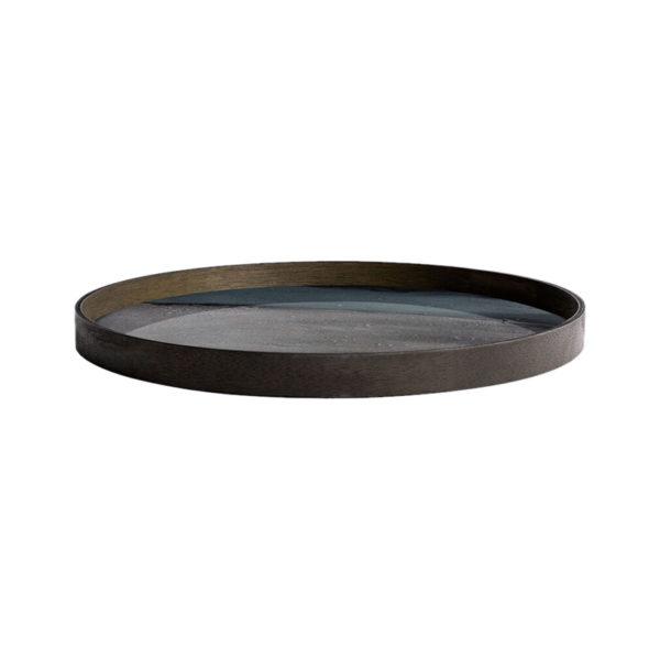 Graphite Organic Round Glass Tray