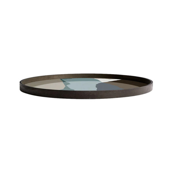 Graphite Wabi Sabi Round Glass Tray