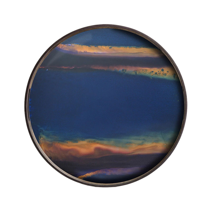 Ethnicraft Indigo Organic Round Glass Tray by Dawn Sweitzer Olson and Baker - Designer & Contemporary Sofas, Furniture - Olson and Baker showcases original designs from authentic, designer brands. Buy contemporary furniture, lighting, storage, sofas & chairs at Olson + Baker.