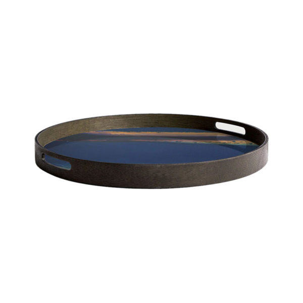 Indigo Organic Round Glass Tray