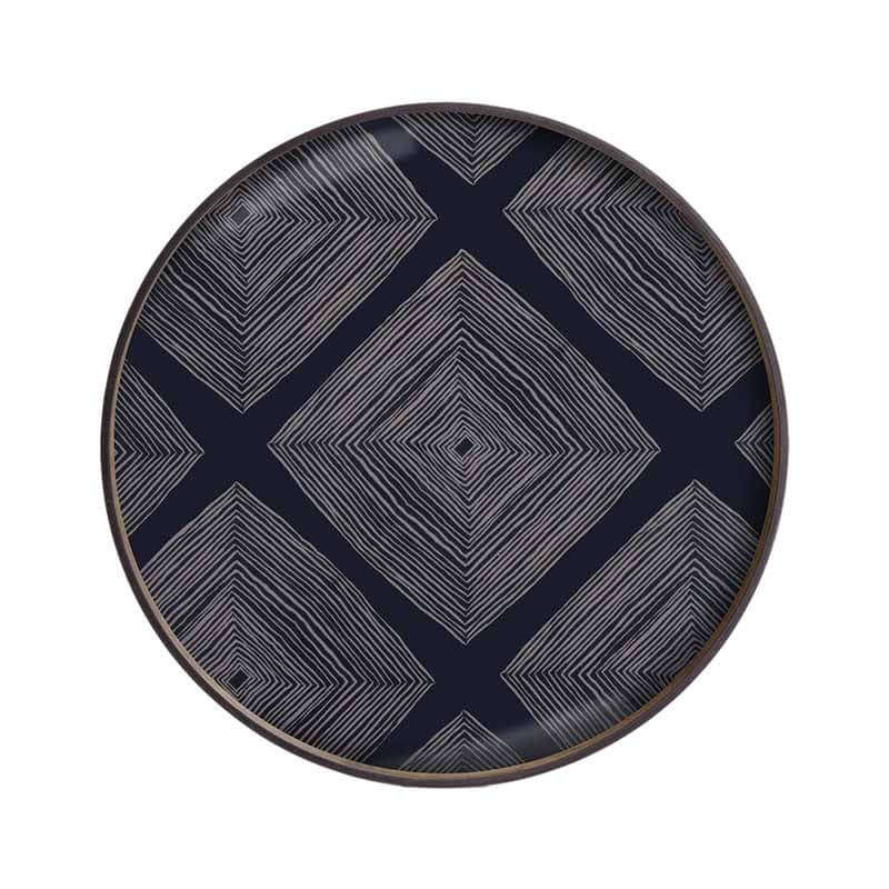 Ethnicraft Ink Linear Squares Round Glass Tray by Dawn Sweitzer Olson and Baker - Designer & Contemporary Sofas, Furniture - Olson and Baker showcases original designs from authentic, designer brands. Buy contemporary furniture, lighting, storage, sofas & chairs at Olson + Baker.
