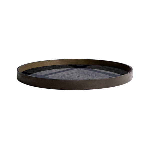 Ink Linear Squares Round Glass Tray