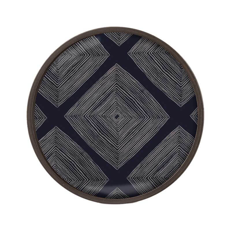 Ethnicraft Ink Linear Squares Round Glass Valet Tray by Dawn Sweitzer Olson and Baker - Designer & Contemporary Sofas, Furniture - Olson and Baker showcases original designs from authentic, designer brands. Buy contemporary furniture, lighting, storage, sofas & chairs at Olson + Baker.