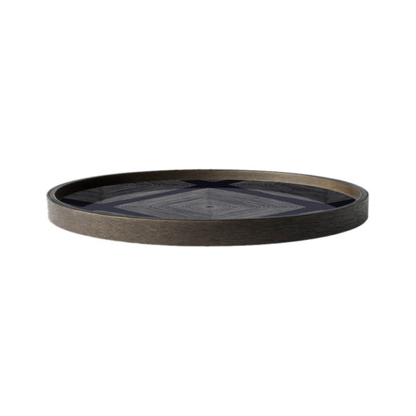 Ink Linear Squares Round Glass Valet Tray