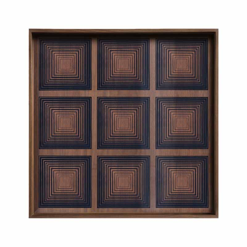 Ethnicraft Ink Squares Glass Tray by Dawn Sweitzer Olson and Baker - Designer & Contemporary Sofas, Furniture - Olson and Baker showcases original designs from authentic, designer brands. Buy contemporary furniture, lighting, storage, sofas & chairs at Olson + Baker.
