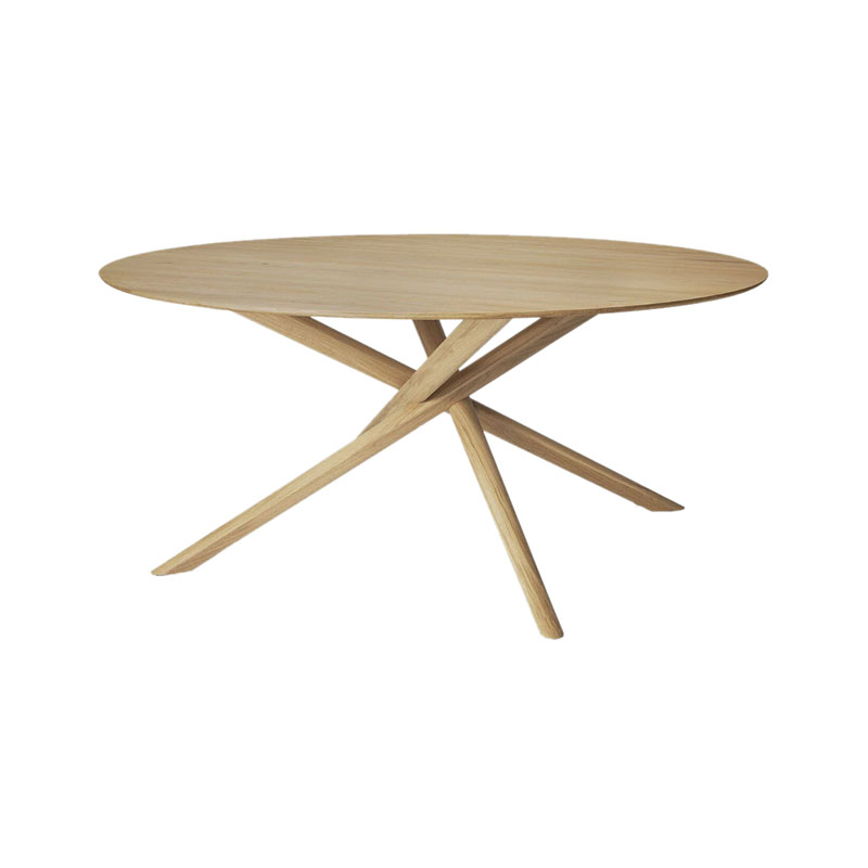 Ethnicraft Mikado Ø150cm Round Dining Table by Alain Van Havre Olson and Baker - Designer & Contemporary Sofas, Furniture - Olson and Baker showcases original designs from authentic, designer brands. Buy contemporary furniture, lighting, storage, sofas & chairs at Olson + Baker.