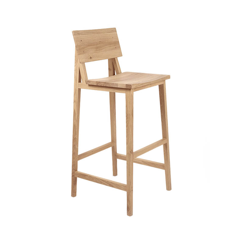 Ethnicraft N4 High Bar Stool by Nathan Yong Olson and Baker - Designer & Contemporary Sofas, Furniture - Olson and Baker showcases original designs from authentic, designer brands. Buy contemporary furniture, lighting, storage, sofas & chairs at Olson + Baker.