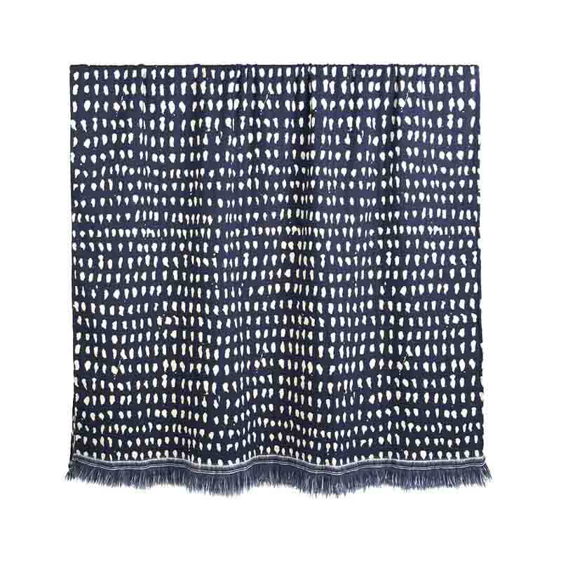 Ethnicraft Navy Dots 140x240cm Throw by Dawn Sweitzer Olson and Baker - Designer & Contemporary Sofas, Furniture - Olson and Baker showcases original designs from authentic, designer brands. Buy contemporary furniture, lighting, storage, sofas & chairs at Olson + Baker.