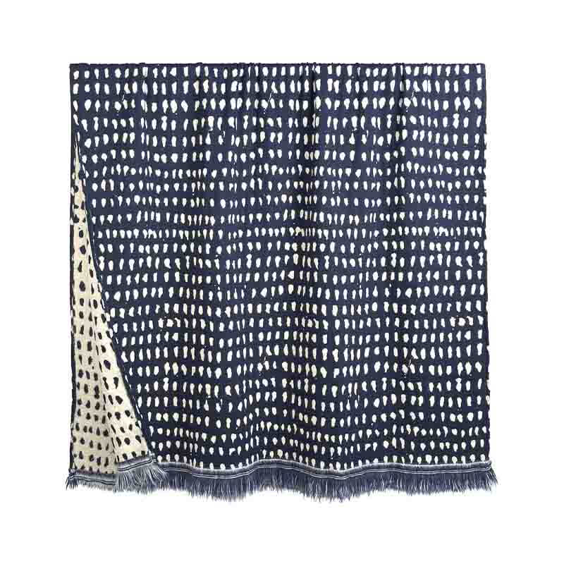 Ethnicraft_Navy_Dots_140x240cm_Throw_by_Dawn_Sweitzer_2 Olson and Baker - Designer & Contemporary Sofas, Furniture - Olson and Baker showcases original designs from authentic, designer brands. Buy contemporary furniture, lighting, storage, sofas & chairs at Olson + Baker.