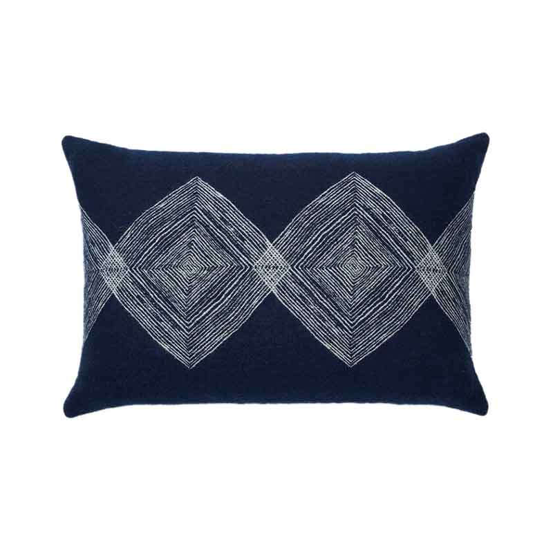 Ethnicraft Navy Linear Diamonds 60x40cm Cushion by Dawn Sweitzer Olson and Baker - Designer & Contemporary Sofas, Furniture - Olson and Baker showcases original designs from authentic, designer brands. Buy contemporary furniture, lighting, storage, sofas & chairs at Olson + Baker.