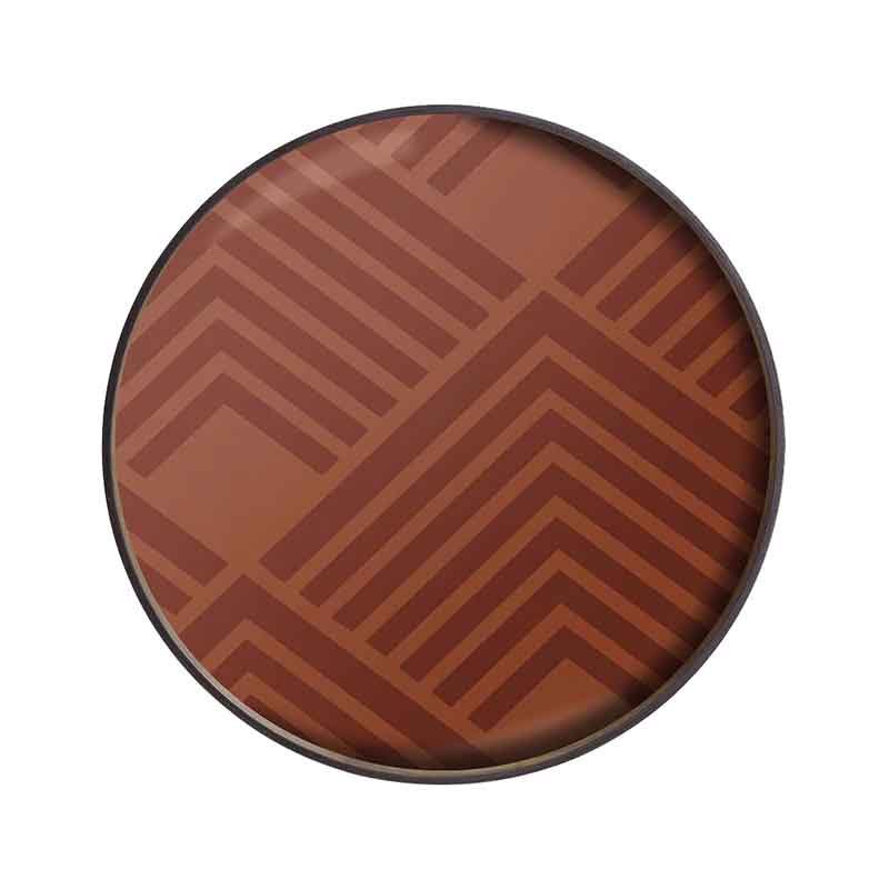 Ethnicraft Orange Chevron Round Glass Tray by Dawn Sweitzer Olson and Baker - Designer & Contemporary Sofas, Furniture - Olson and Baker showcases original designs from authentic, designer brands. Buy contemporary furniture, lighting, storage, sofas & chairs at Olson + Baker.