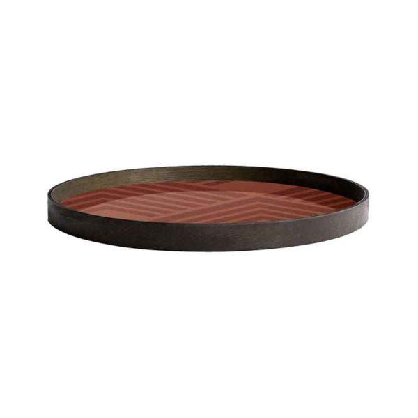 Orange Chevron Round Glass Tray