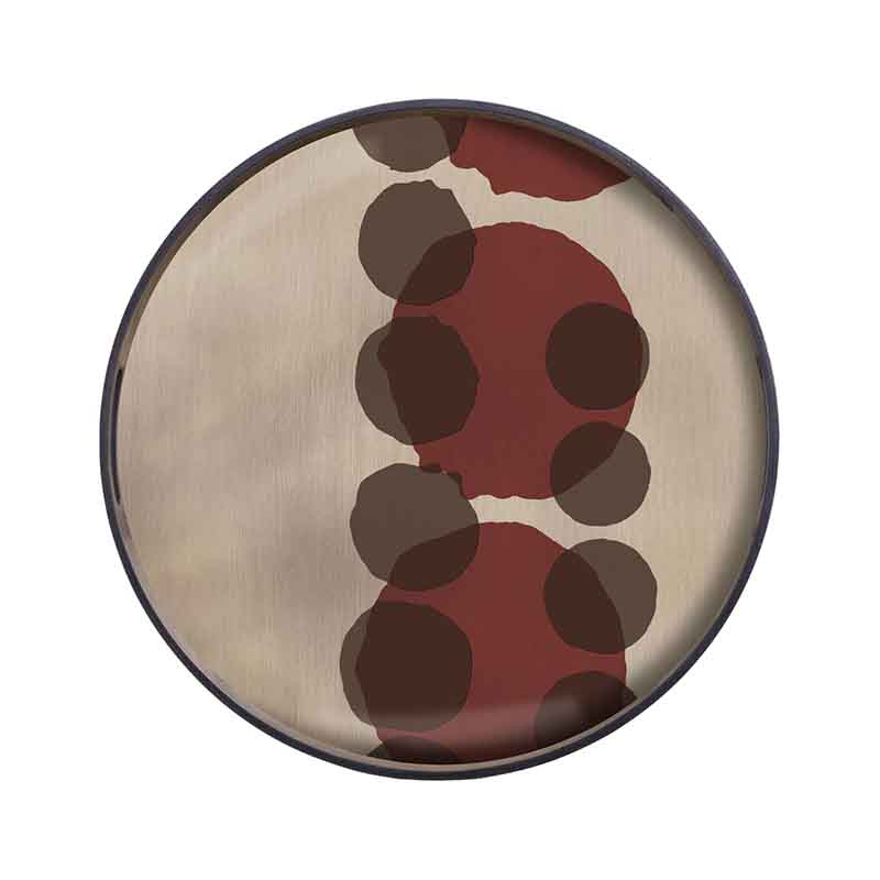 Ethnicraft Pinot Layered Dots Round Glass Tray by Dawn Sweitzer Olson and Baker - Designer & Contemporary Sofas, Furniture - Olson and Baker showcases original designs from authentic, designer brands. Buy contemporary furniture, lighting, storage, sofas & chairs at Olson + Baker.