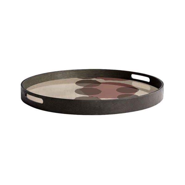 Pinot Layered Dots Round Glass Tray