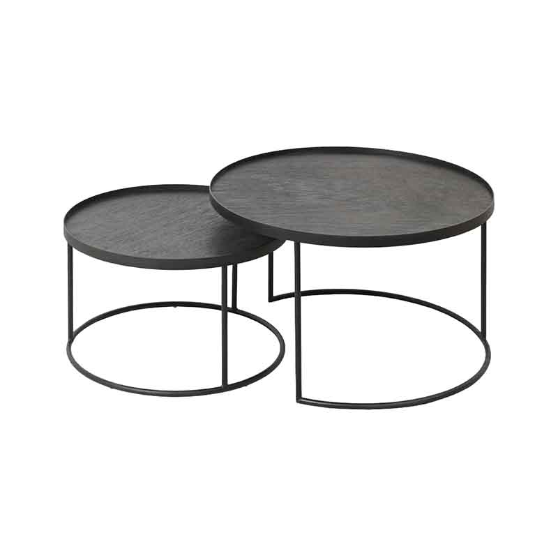 Ethnicraft Round Tray Coffee Table - Set of Two by Dawn Sweitzer Olson and Baker - Designer & Contemporary Sofas, Furniture - Olson and Baker showcases original designs from authentic, designer brands. Buy contemporary furniture, lighting, storage, sofas & chairs at Olson + Baker.