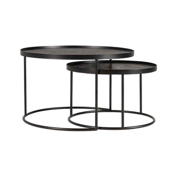 Round Tray Coffee Table - Set of Two