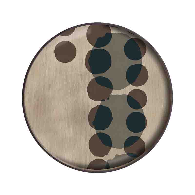 Ethnicraft Slate Layered Dots Round Glass Tray by Dawn Sweitzer Olson and Baker - Designer & Contemporary Sofas, Furniture - Olson and Baker showcases original designs from authentic, designer brands. Buy contemporary furniture, lighting, storage, sofas & chairs at Olson + Baker.