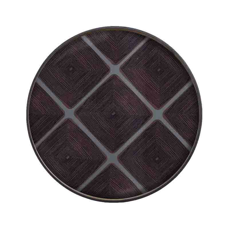 Ethnicraft Slate Linear Round Squares Glass Tray by Dawn Sweitzer Olson and Baker - Designer & Contemporary Sofas, Furniture - Olson and Baker showcases original designs from authentic, designer brands. Buy contemporary furniture, lighting, storage, sofas & chairs at Olson + Baker.