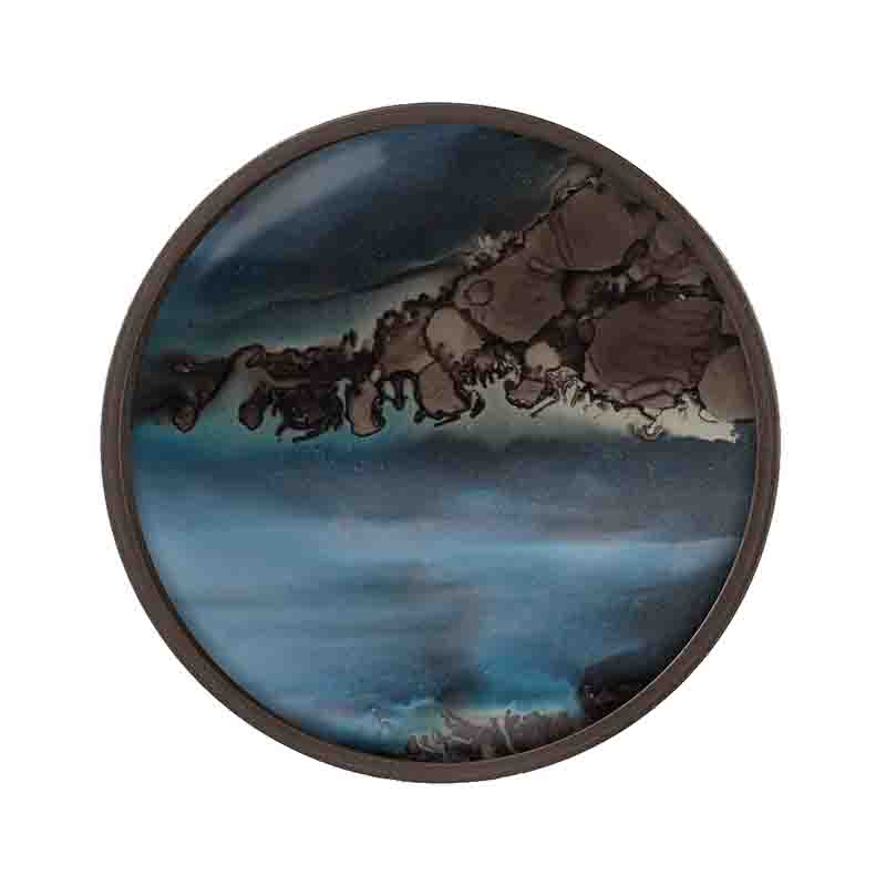 Ethnicraft Slate Organic Round Glass Valet Tray by Dawn Sweitzer Olson and Baker - Designer & Contemporary Sofas, Furniture - Olson and Baker showcases original designs from authentic, designer brands. Buy contemporary furniture, lighting, storage, sofas & chairs at Olson + Baker.
