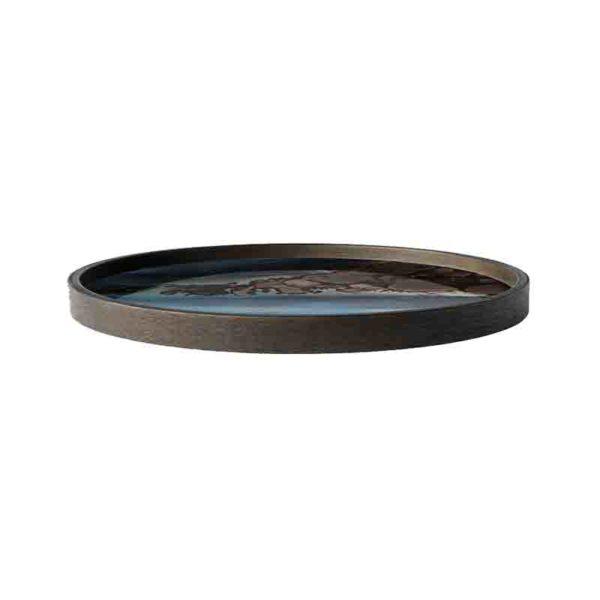 Slate Organic Round Glass Valet Tray